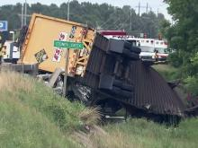 Northbound lanes of U.S. Highway 301 Bypass were closed in Rocky Mount on June 10, 2013, after a tractor trailer overturned on a bridge and ended up in a stream, authorities said.