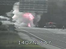 Flames engulf tractor-trailer cab on I-40 West