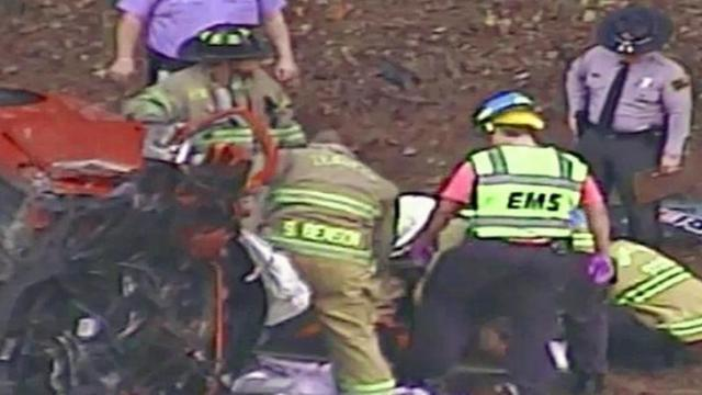 EMS and firefighters worked to extract a person from a crashed vehicle Thursday along U.S. 264 in Zebulon.