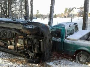A vehicle toppled over on icy roads in Franklin County. (Submitted by Ernest Eason)
