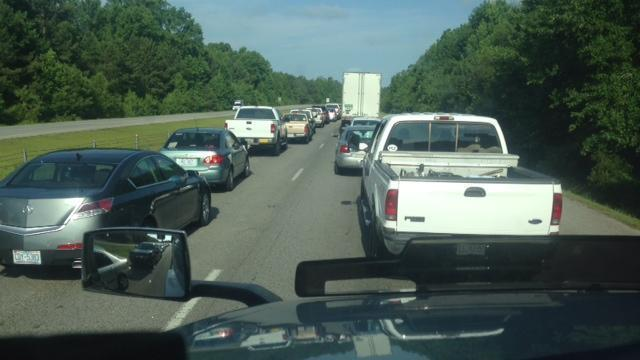 Both westbound lanes of Interstate 40 were closed Monday after a fatal accident near Benson. (Photo by: Kevan Burnett)