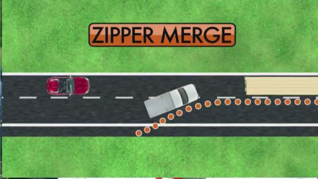 Zipper merge graphic