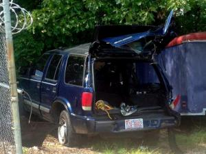 Cary police say this Chevrolet Blazer collided with a dump truck on McCrimmon Parkway, near Panther Creek High School, on Sept. 16, 2014.