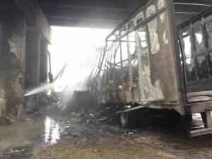 Firefighters put out a fire that destroyed a UPS truck Wednesday afternoon on I-95.