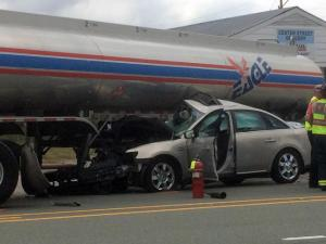 Car crashes into fuel truck in Apex