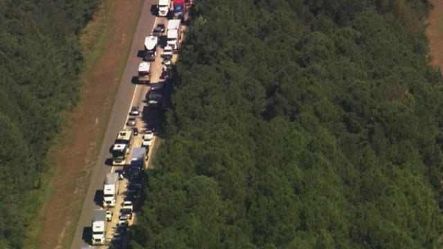 Traffic backed up Monday on Interstate 95 south of Rocky Mount after a wreck in a work zone.