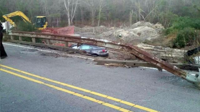 A Dec. 7, 2014, crash on Forestville road in Wake Forest damaged a bridge over Sanford Creek.