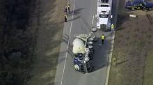 Eastbound lanes of the N.C. Highway 98 Bypass (Dr. Calvin Jones Highway) were closed Thursday morning after a cement truck overturned.