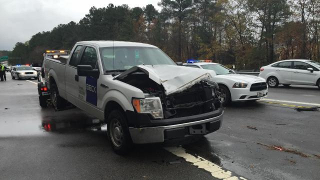 A pedestrian was struck and killed Thursday morning, Nov. 19, 2015, by this truck while walking across a ramp that connects U.S. Highway 15-501 South and N.C. Highway 751, according to Durham police.