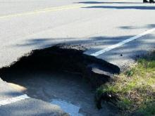 Chatham County authorities closed Lystra Road near Jordan Lake on Jan. 18, 2016, because a sinkhole opened up in one lane. (Phot courtesy of Chatham County Emergency Management)