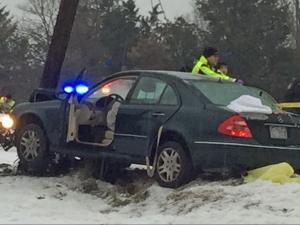 A car slid into a power pole on Camden Avenue in Durham Jan. 22, 2016.