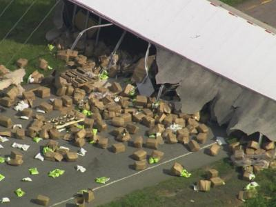 Overturned tractor trailer closes Capital Boulevard