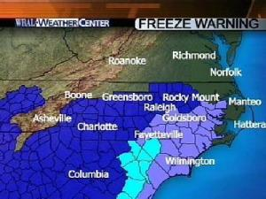 Freeze Warning In Effect For Parts Of WRAL Viewing Area