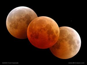 Three images of the last total lunar eclipse, in 2004, just before, during and just after totality...