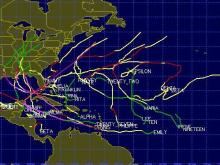 Tracks of Atlantic tropical cyclones from the record-setting 2005 season, from the Unisys hurricane archive