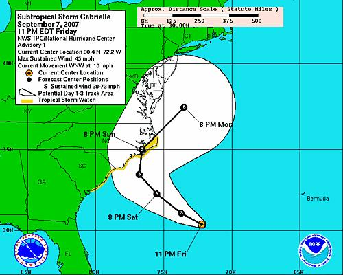 National Hurricane Center's Friday's night computer prediction of Gabrielle's track up the coast.