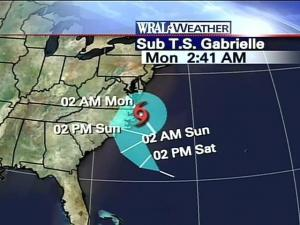 Computer models show Gabrielle striking near the North Carolina coast Sunday afternoon and skirting the Outer Banks.