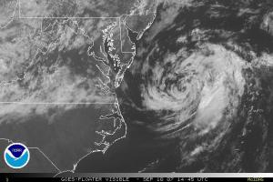 Tropical Depression Gabrielle moving into the Atlantic east of Chesapeake Bay around midday on Monday Sep 10, 2007. Satellite image from NOAA.