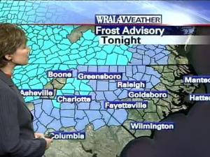 Areas shaded in light blue will be under a frost advisory early Tuesday morning.