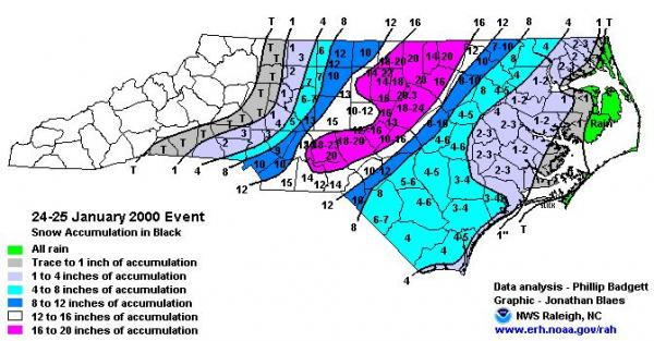 Snow accumulations across NC for the 24-25 January 2000 storm. Graphic produced by the Raleigh NWS forecast office.