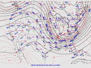 """Example of a""""meridional"""" pattern at 500 millibars (about 18,000 feet above sea level)."""
