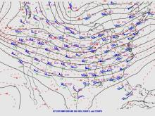 """Example of a """"zonal"""" pattern across the U.S. at 500 millibars."""