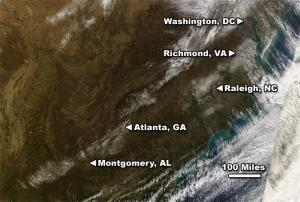 True-color image of snowfall captured by Terra/MODIS imager on Sunday, January 20, 2008.