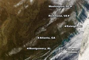 MODIS satellite image from NOAA showing snow left behind by storms on 17, 18 and 19 January 08.