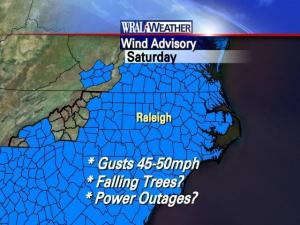 A wind advisory is in effect until 6 p.m. Saturday for most counties in the state.