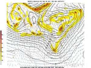 500 miilibar pattern projected for 2 pm Monday 25 Mar 08, from the Hydrometeorological Prediction Center Global Forecast System model.