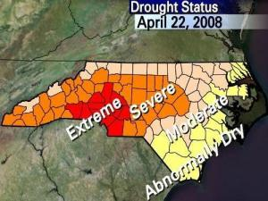 The N.C. Drought Management Advisory Council's weekly report on drought conditions statewide, issued on April 22, 2008.