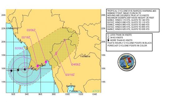 Analysis and forecast track for Cyclone Nargis, from the Joint Typhoon Warning Center, at about the time of the storm's maximum intensity.