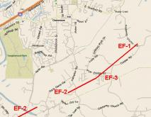 Clemmons Tornado Track - May 8, 2008