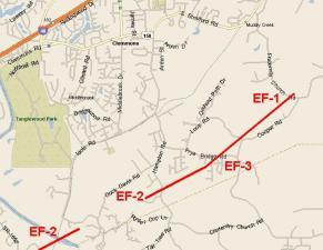 Tornado track of Forsyth County tornado of May 8, 2008.
