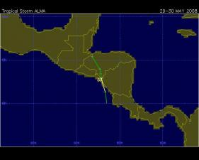 Tropical Storm Alma track (storm moved north-northwest)