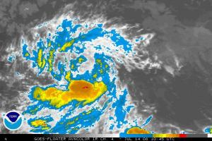 Infrared satellite image of a central Atlantic disturbance (designated 94L) that has a good chance to become a tropical depression (TD 3?) and possibly storm (Cristobal?) in the next day or two.