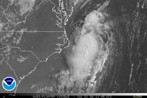 Tropical Storm Cristobal pulling way from the North Carolina coast around 8 am on Monday July 21, 2008. The center of circulation is about 130 miles northeast of Cape Hatteras.