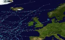 """Close view of the northeast Atlantic and North Sea showing tropical cyclone and """"post-tropical"""" tracks from 1985-2005."""
