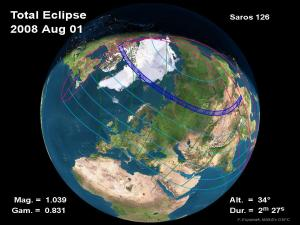Path of a total solar eclipse that will occur the morning of Friday, Aug 1 2008. The total eclipse will be visible along the dark blue path from northeastern Canada into eastern China.