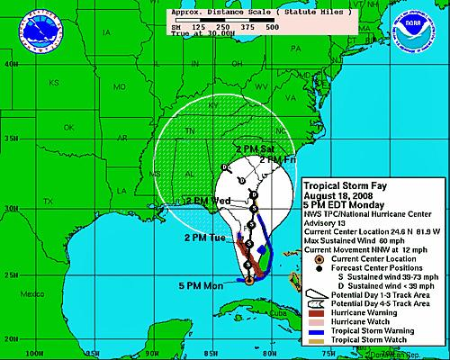 The National Weather Service's projected track for Tropical Storm Fay through Friday, Aug. 22.