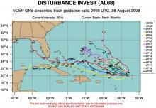 Spaghetti plot of GFS ensemble model forecast tracks for TD #8.  (Courtesy: University of Colorado.)