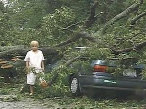 Damage caused by Hurricane Fran in 1996.