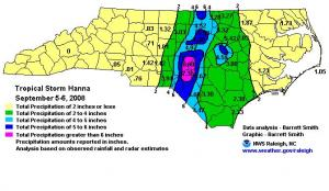 Raleigh NWS map of rainfall contours and selected observations from Hanna.