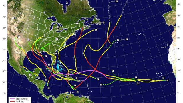 A preliminary plot of the tracks of named storms during the 2008 Atlantic Basin hurricane season. (NOAA)