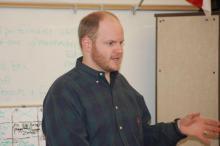 WRAL Meteorologist Nate Johnson speaks to students at Washington ES (Courtesy: Lynn Lang)