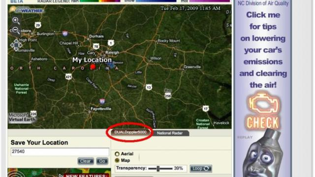 """A screen capture of the latest release of iControl Interactive Doppler Radar with the new """"DUALDoppler5000"""" tab highlighted."""