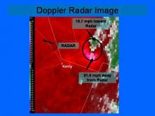 Doppler radar image around the time of the Kenly tornado on November 15, 2008.  The image shows more than 90mph of wind shear or rotation as the storm pulls away from Kenly.
