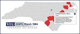 March 1984 tornado outbreak map