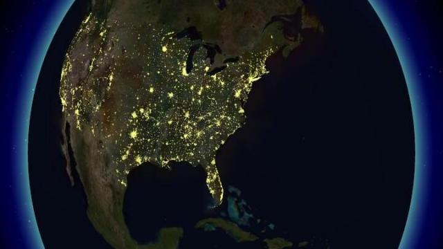 Simulated U.S. night lights from space made using the Weather Central 3D:Live software.