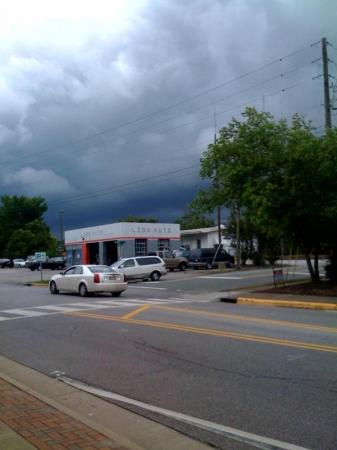 Dark clouds rolled in over downtown Apex Friday afternoon.